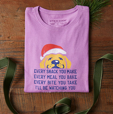 tee shirt graphic dog in santa hat every snack
