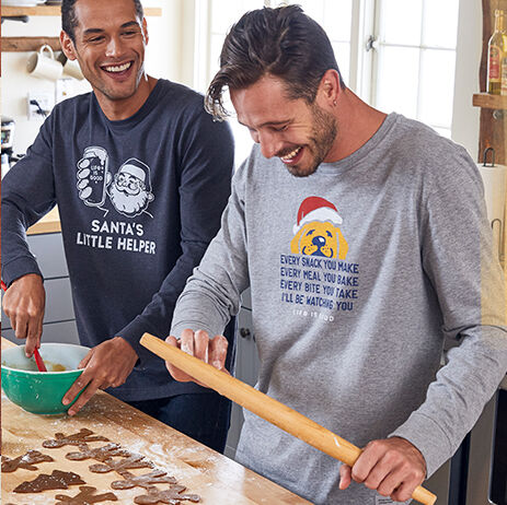 Two men baking gingerbread cookies in life is good long sleeve tee shirts