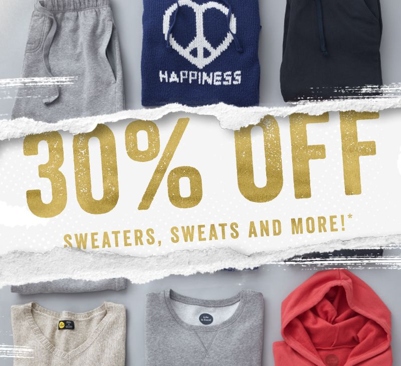 30% Off All Sweatshirts and Sweatpants