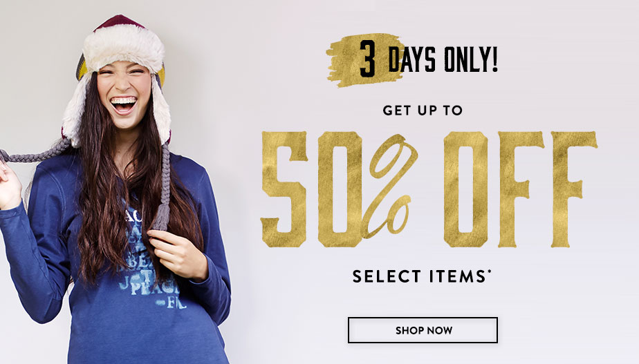 3 Day only! Get up to 50% Off Select Items